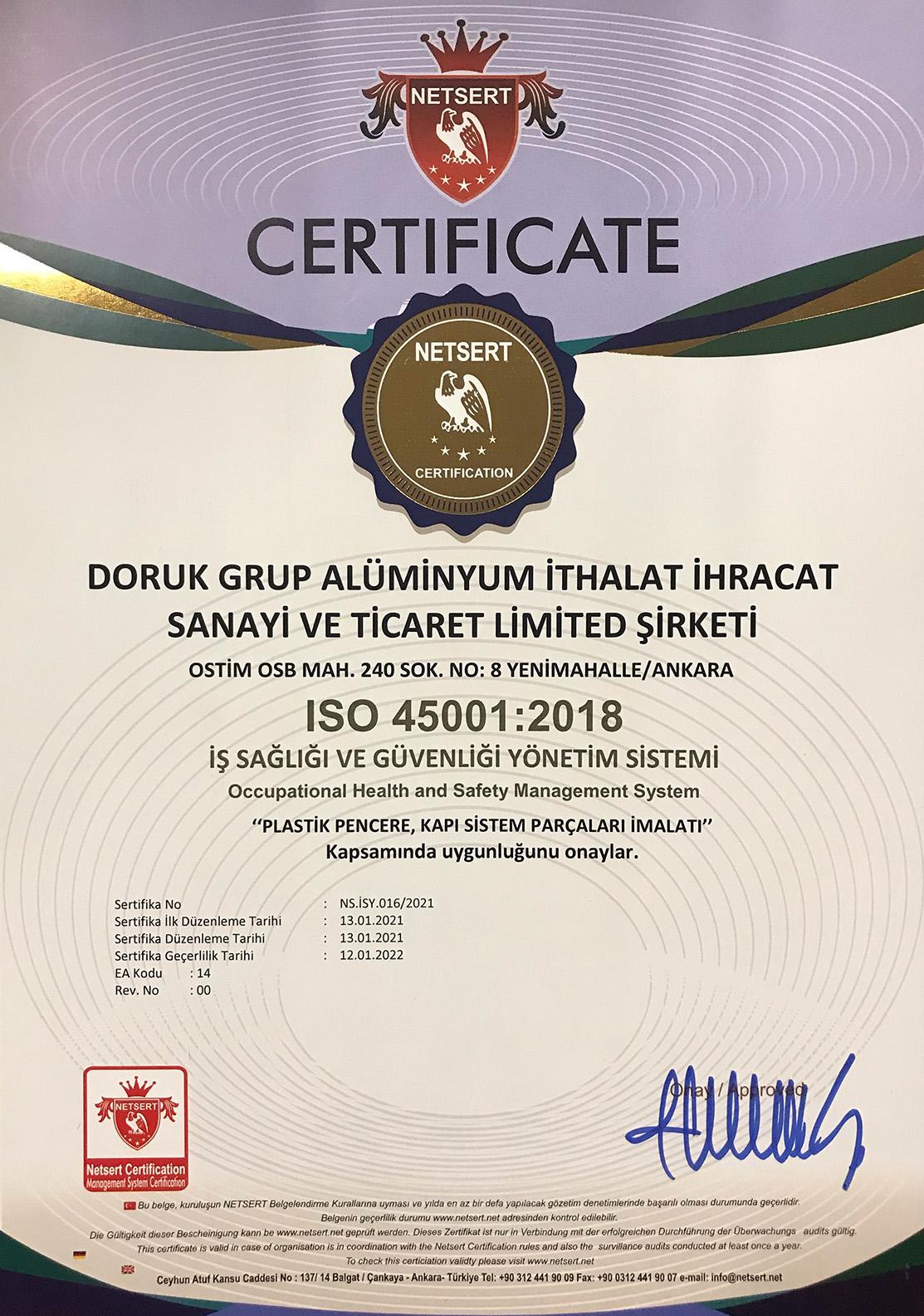 Doruk Grup ISO Sertifika